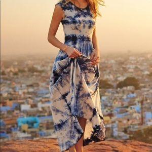 Anthropologie skyscape tie dye maxi dress odells